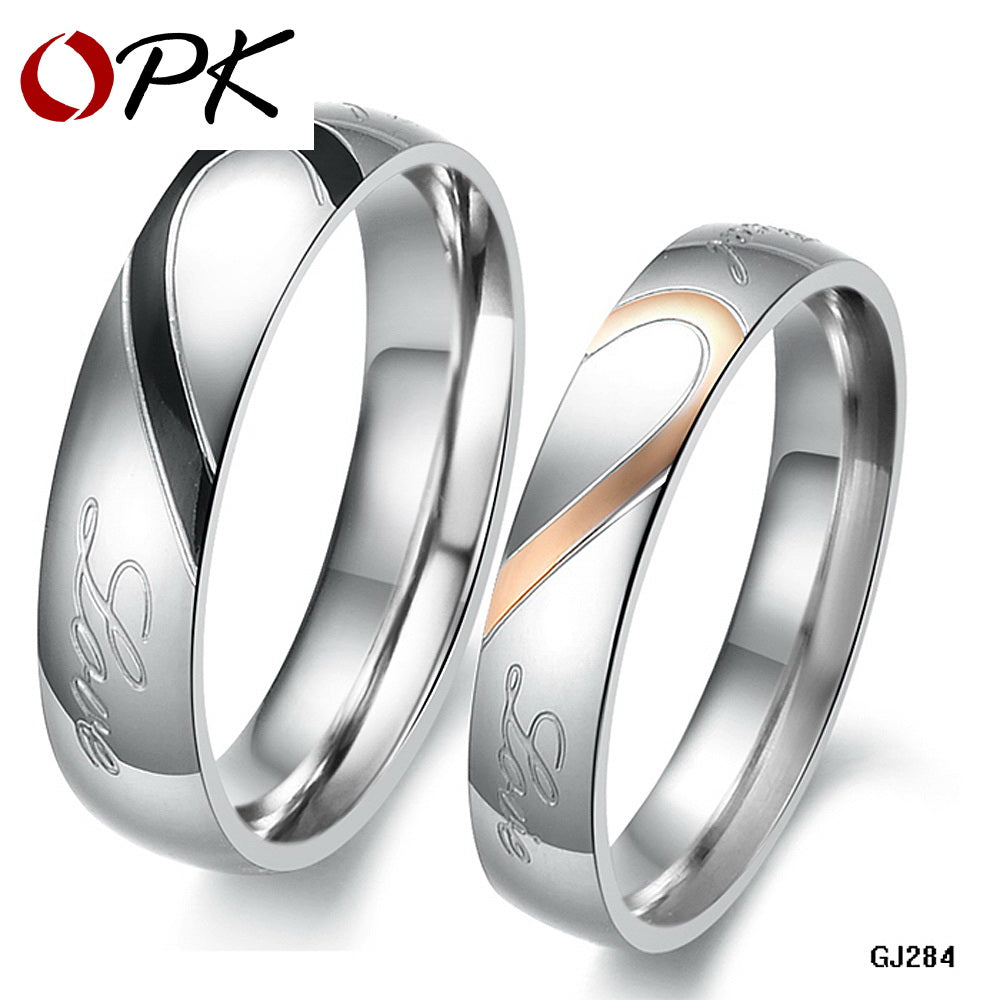 OPK JEWELRY 316L Stainless Steel Silver Half Heart Simple Circle