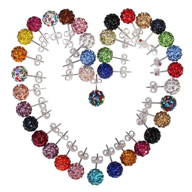 10 Color 8 MM Shamballa Earrings Micro Disco Ball Shamballa Round CZ