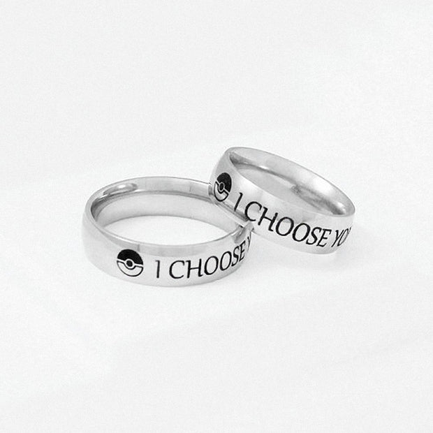I Choose You Ring Stainless Steel Couple Rings Engagement His & Her