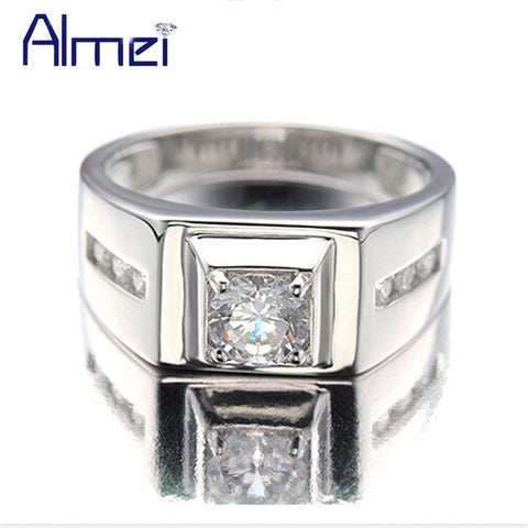 Almei 925 Sterling Silver Rings Men 2017 Fashion Punk Jewelry Cubic