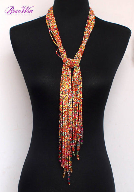 MANILAI 12 Color Boho Style Jewelry Handmade Beaded Long Necklace