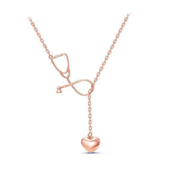 2 Colors Stethoscope Lariat necklace,Heart and Stethoscope Pendant for