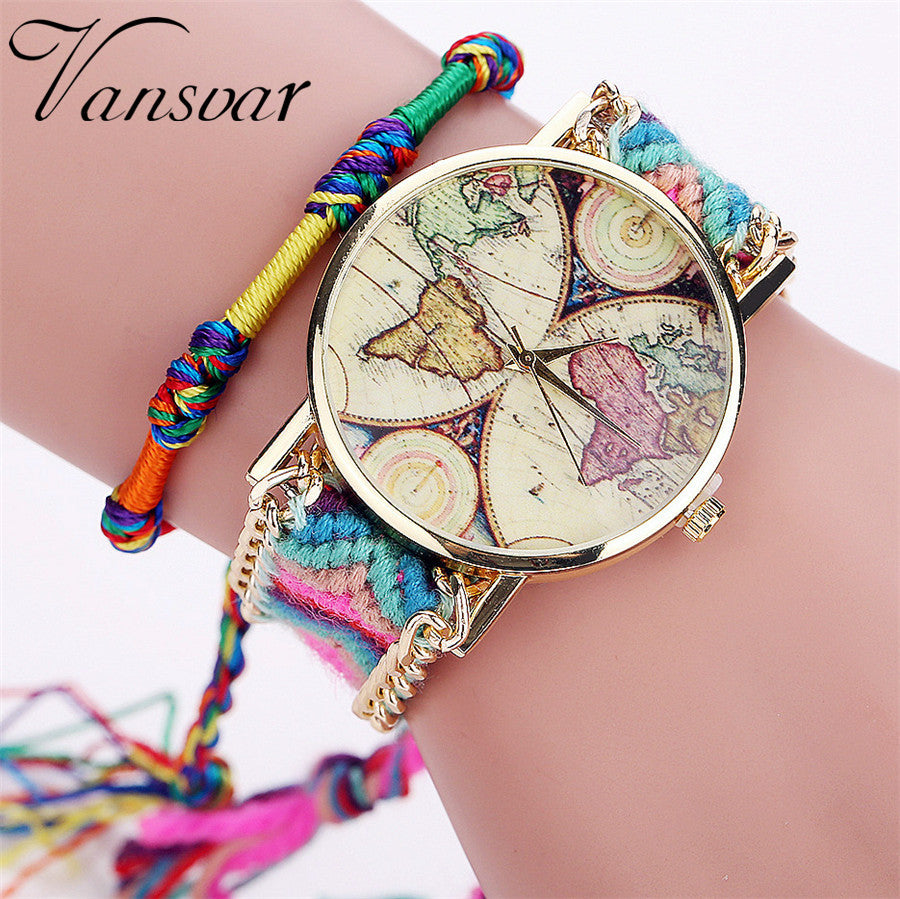 Vansvar Brand Handmade Braided World Map Friendship Bracelet Watch