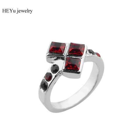 Suicide Squad Ring Harley Quinn Poker Shape Puddin Joker Rings Suicide Squads Black Red Crystal Gem Jewelry For Women Wedding