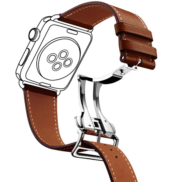 Deployment Buckle Single Tour Leather band for apple watch strap for iwatch belt for Hermes watch band