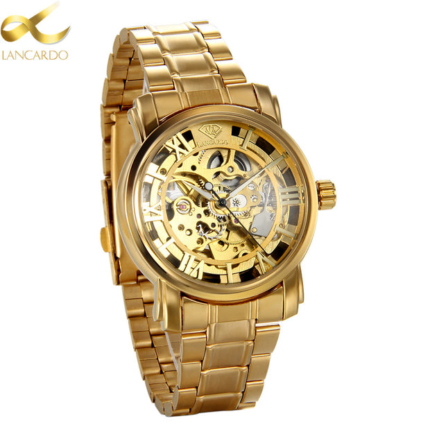 Lancardo Automatic Mechanical Watches Men Brand Luxury Gold