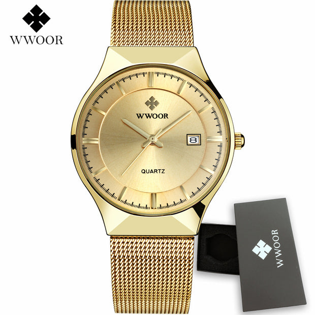 WWOOR Mens Watches Top Brand Luxury Gold Full Steel Quartz Men's Watch