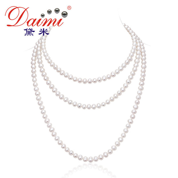 [DAIMI] 2016 Jewelry Pearl Necklace 7-8mm Natural Freshwater Pearl