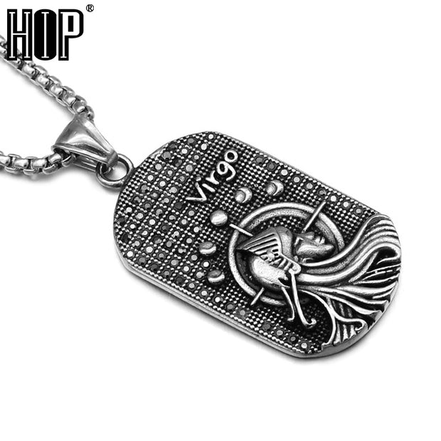 HIP Punk Casting Titanium Stainless Steel 12 Zodiac Signs Amulet