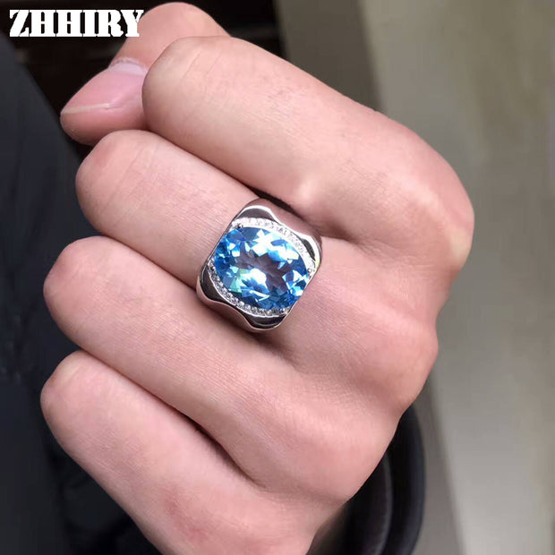 Men Rings Genuine Natural Topaz Gem Man Real 925 Sterling Silver