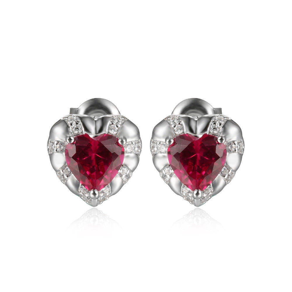 JewelryPalace Love Heart 2.28ct Created Ruby Stud Earrings Genuine 925