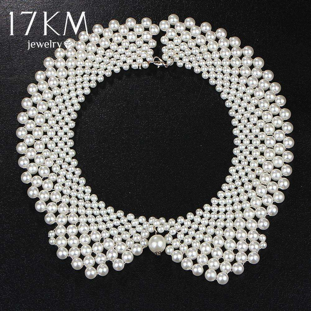 17KM Handmade Simulated Pearl Collar Necklace Choker Necklace