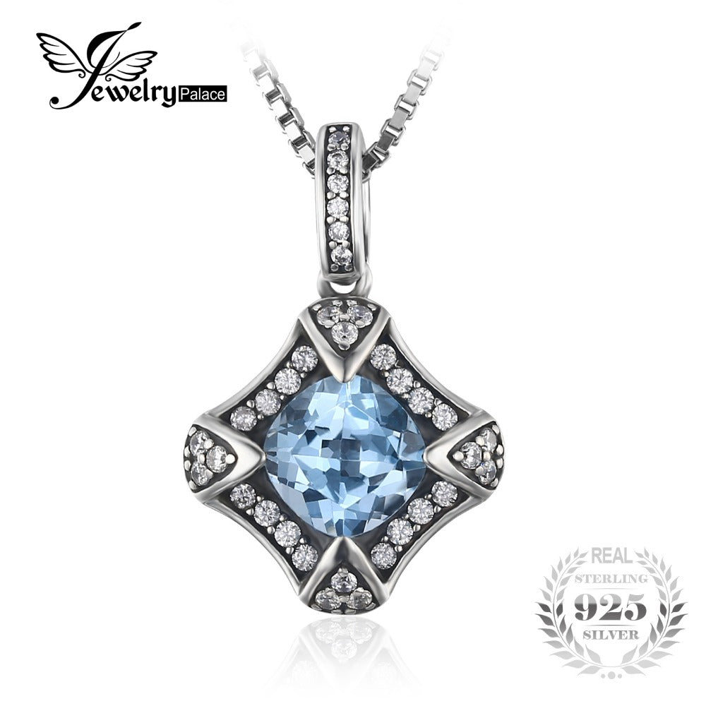 JewelryPalace Retro 2.2ct Sky Blue Topaz Pendants For Woman Genuine