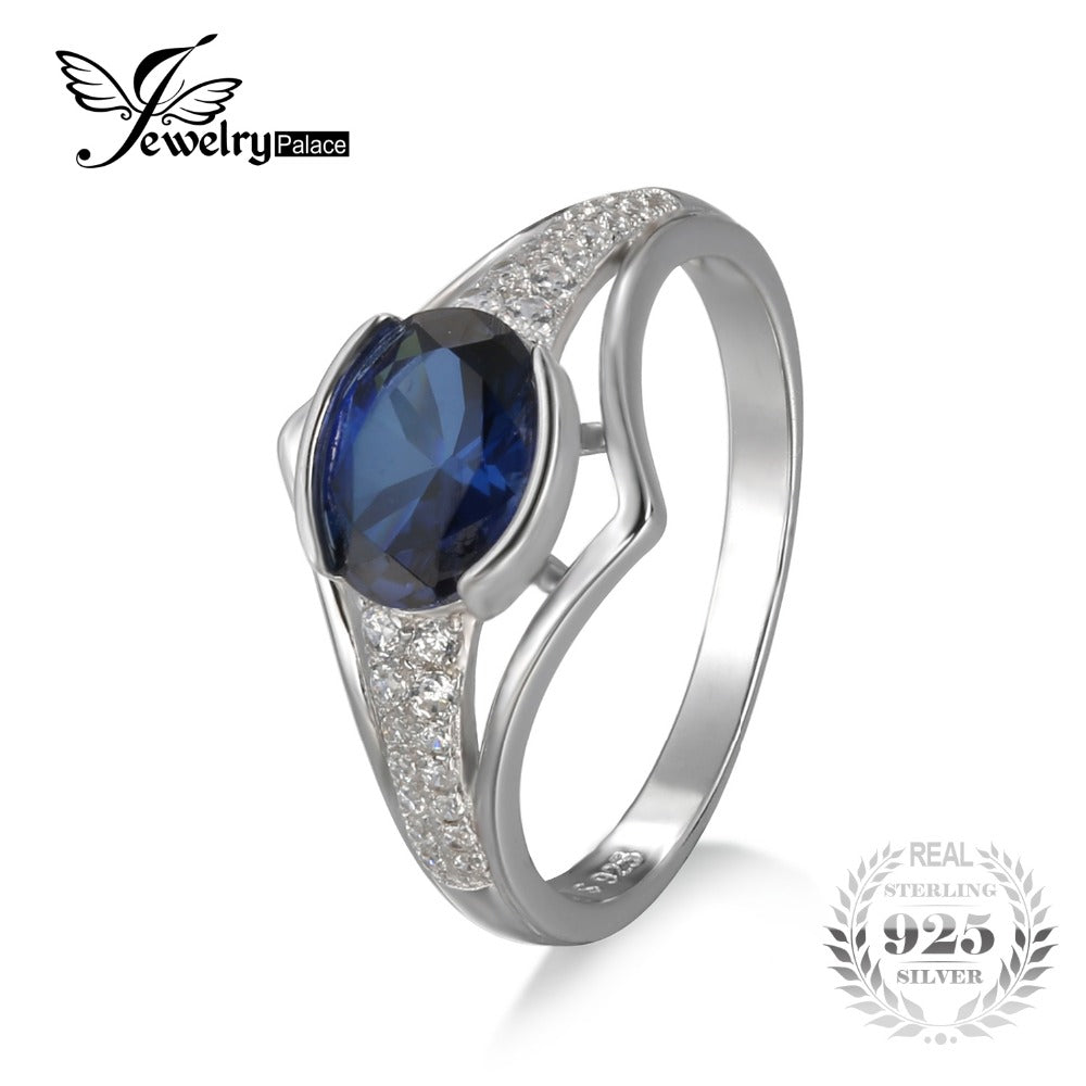 JewelryPalace 1.9ct Created Sapphire Anniversary Ring 100% 925