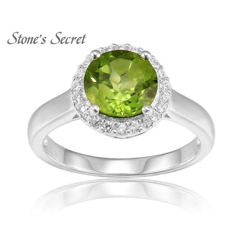 2.09ct 8.0mm Round Manchurian Peridot With 0.2ctw Round White Zirconia