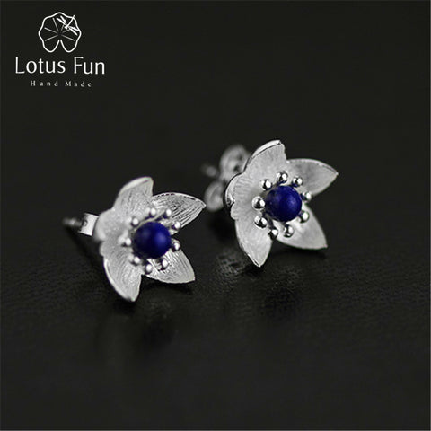 Lotus Fun Real 925 Sterling Silver Natural Lapis Original Handmade