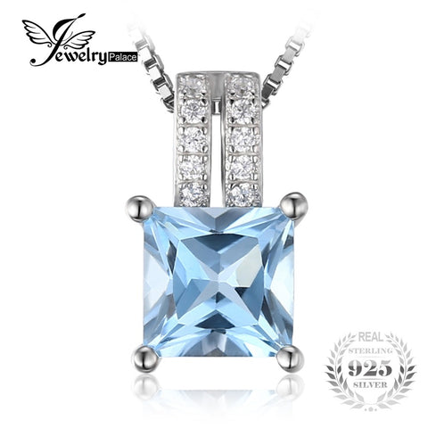 JewelryPalace 1.3ct  princess-cut Sky Blue Topaz Wedding Anniversary