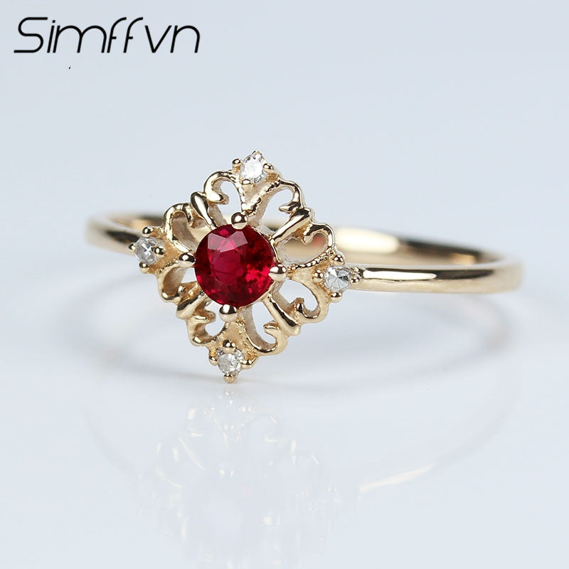 Simffvn Vintage 18K Rose Gold 0.18CT Natural Ruby Anniverary Jewelry