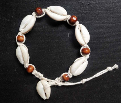 Vintage DIY Rope Wood Bead Ankle Bracelet Natural Shell Bohemian