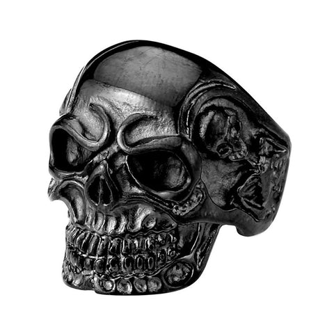 Valily Jewelry Men Ring Black Vintage Punk Biker Skull Ring Stainless Steel Gothic Cool Skeleton Finger Band Rings Jewelry
