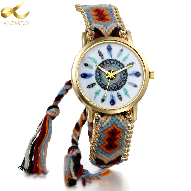 Lancardo Handmade Braided Friendship Bracelet Watch New Hand-Woven