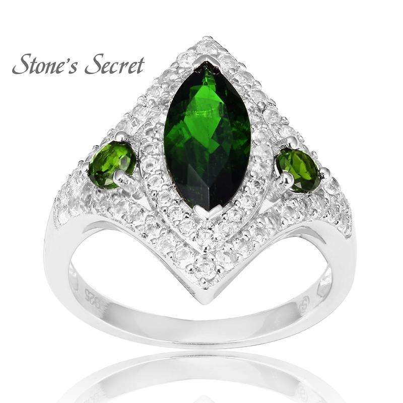 12mm*6mm Natural Russian Chrome Diopside 925 Solid Silver Ring for