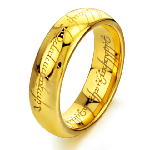 T004 Hot Movie men's finger Rings lord Titanium Stainless Steel gold of the Ring gift wedding men jewelry Free Shipping