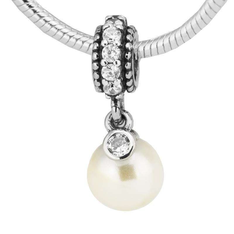 100% 925 Sterling-Silver-Jewelry Luminous Elegance Dangle Pearl