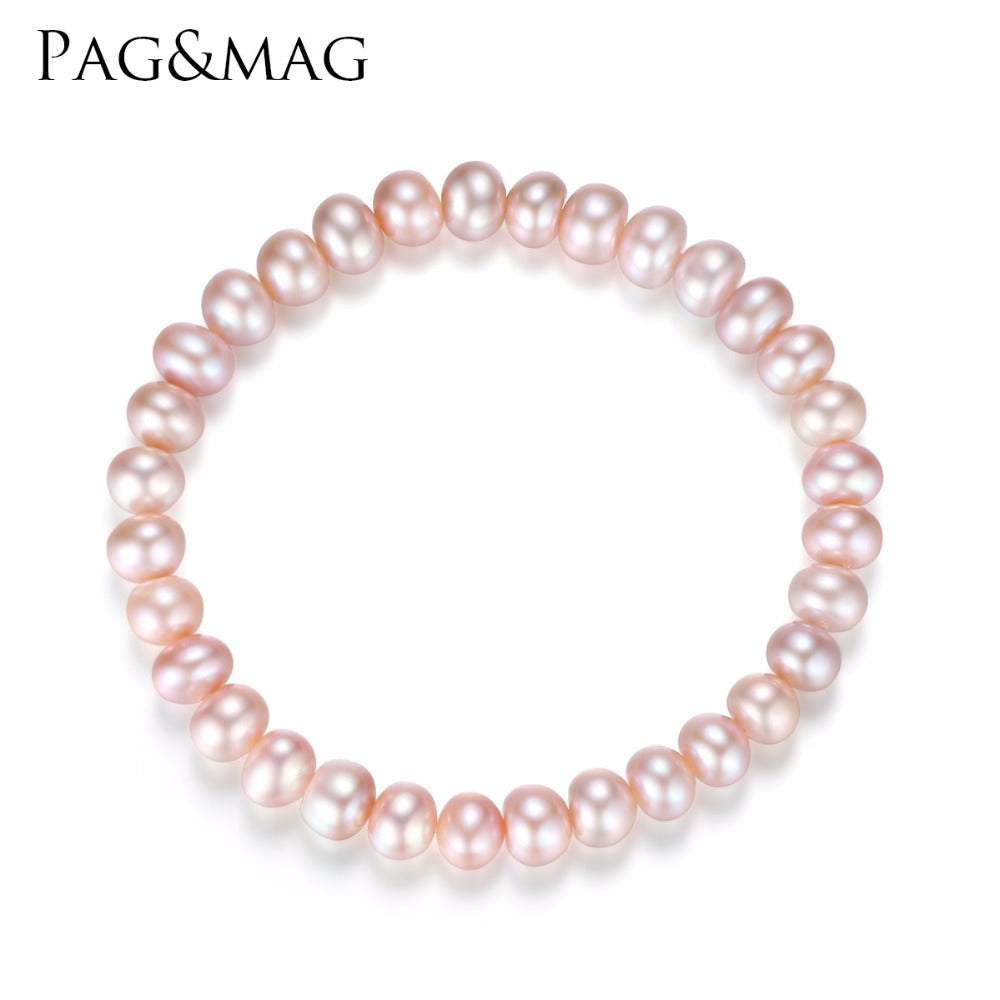 PAG&MAG Brand Freshwater Pearl Bracelet Women Elastic Rope Charm