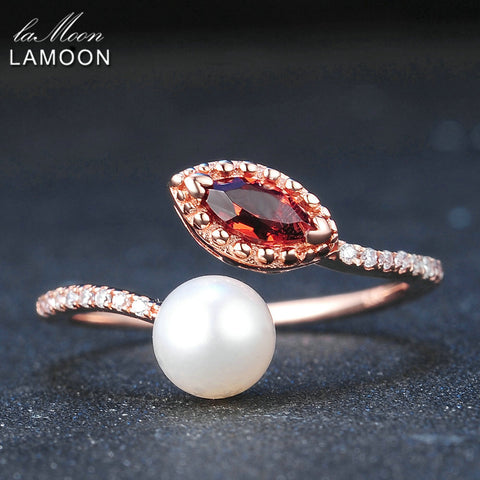 LAMOON Natural Red Garnet Freshwater Pearl 925 Sterling Silver Jewelry