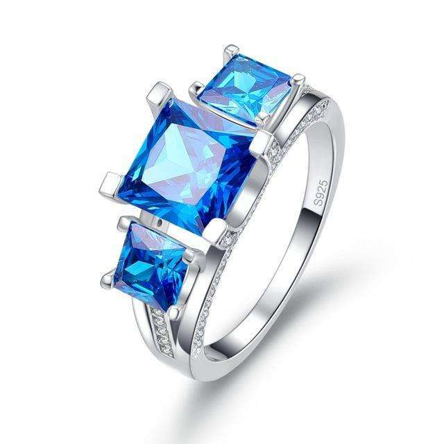2.5 Ct Emerald Cut Natural Ocean Blue Topaz Square Engagement