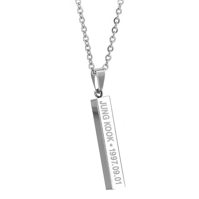 Hot BTS Members Name Date Cuboid Bar Pendant Necklace Fashion
