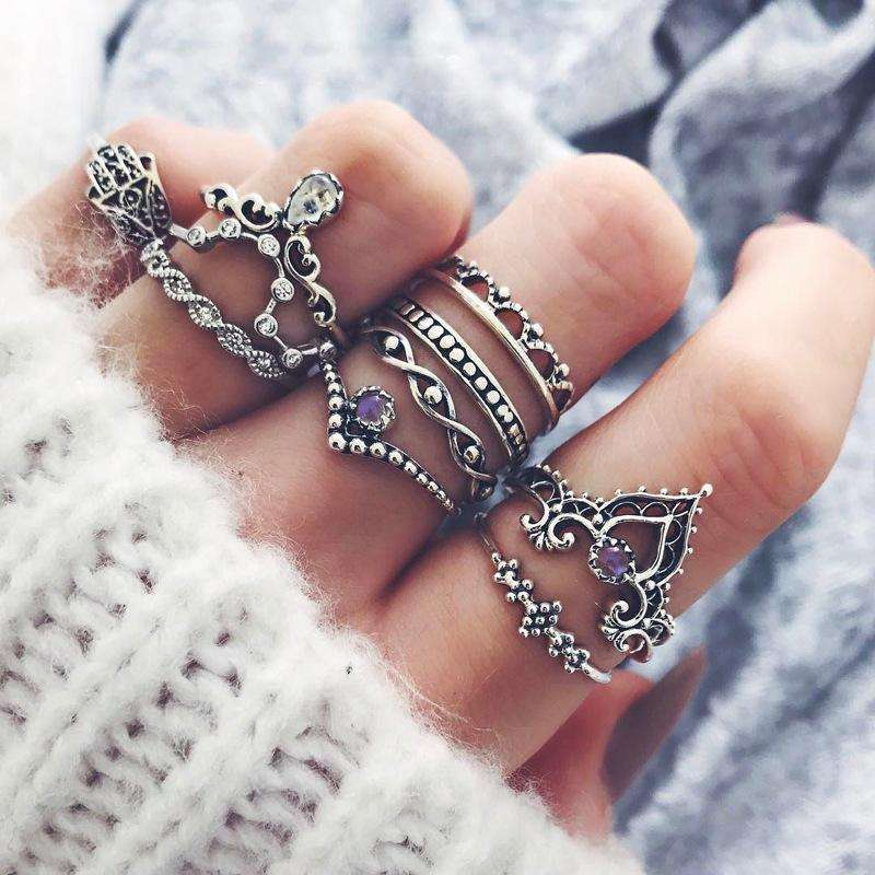 10pcs Retro Silver Color Bohemian Hollow Carved Rhinestone Ring Set