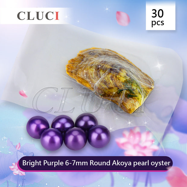 Vacuum-packed 6-7mm round akoya Bright Purple pearl in oyster 30pcs
