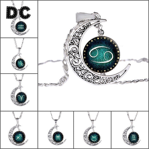 DC Fashion 12 Zodiac Signs Constellation Leo Aries Taurus Hollow Filigree Moon Pendant Chains Statement Necklace Choker Collar