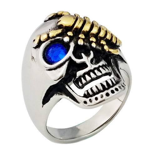 Valily Jewelry Skull Biker Ring Gold-color Scorpion Stainless steel Punk Men Rings Crystal Eyes Designer Ring Fashion jewelry