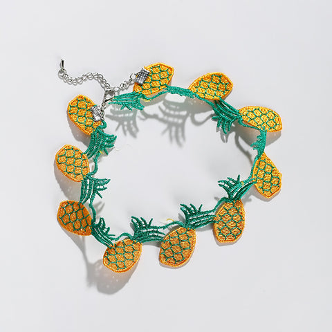 2017 Harajuku Style Fruit Choker Necklace Women Kolye Lovely Pineapple Banana Strawberry Shape Embroidery Cloth Necklaces