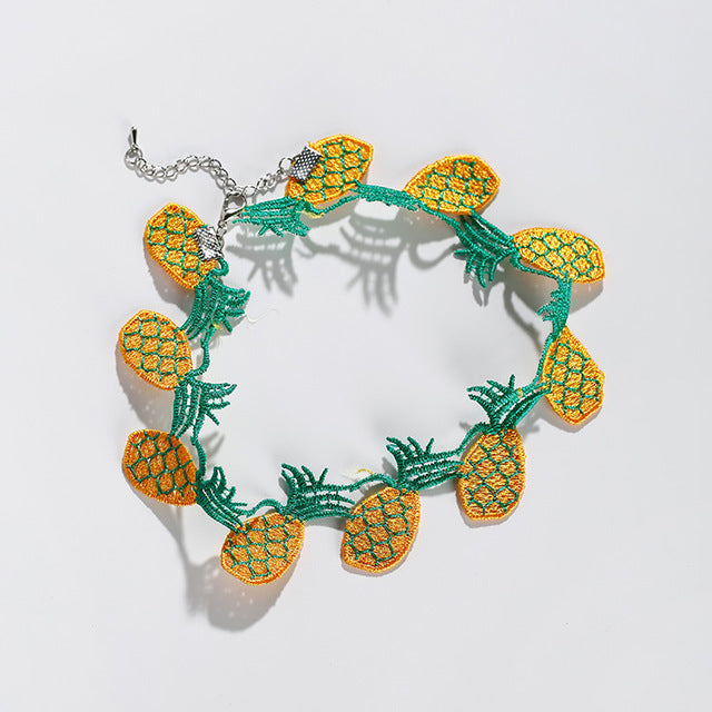 2017 Harajuku Style Fruit Choker Necklace Women Kolye Lovely Pineapple
