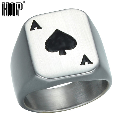 HIP Punk Gothic Ace of Spades Poker Rings Heavy Metal Casting Titanium Stainless Steel Biker Ring for Men Jewelry