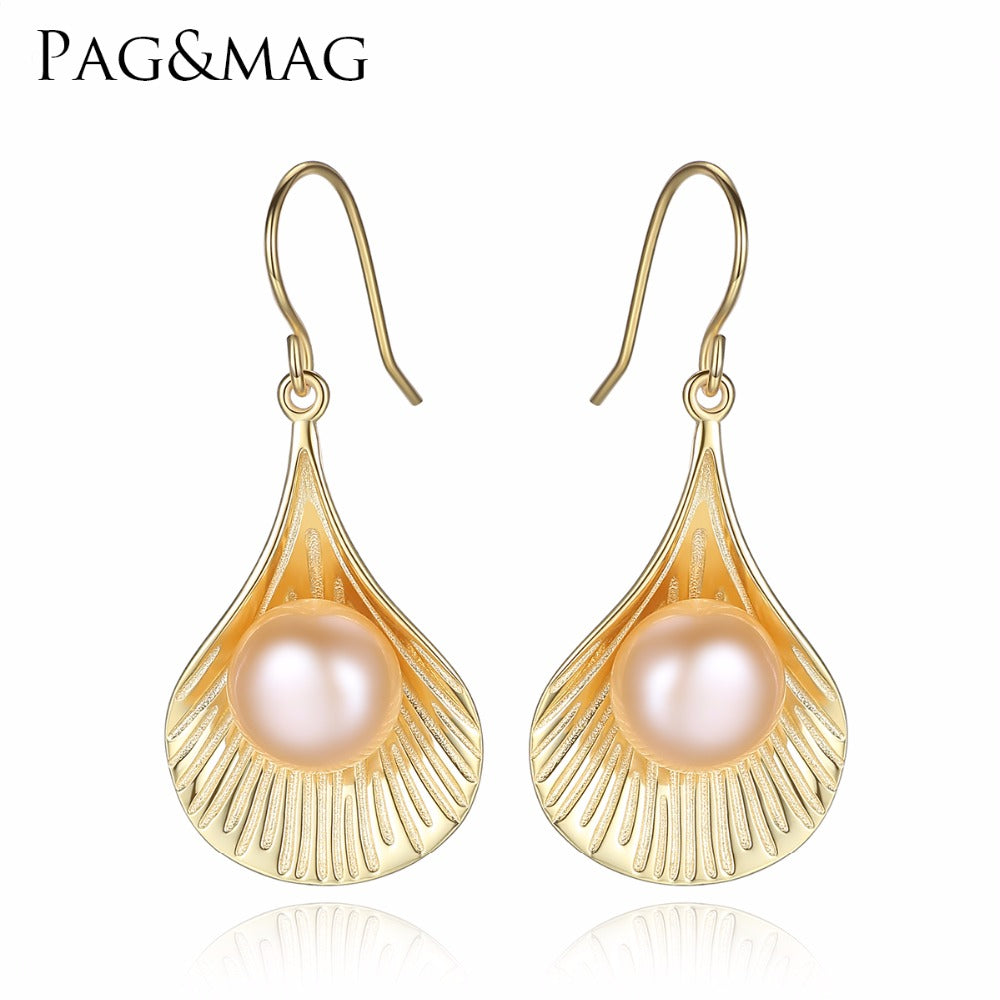 PAG&MAG Brand Scallop-shaped Earrings 925 Sterling Silver Vintage Drop