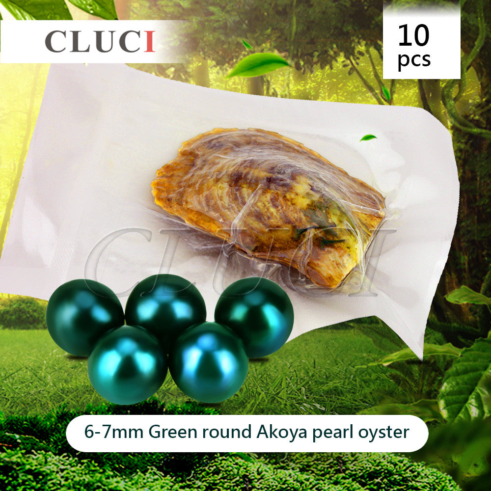 AAA grade 10pcs Akoya Green color skittle Pearls in Oysters with