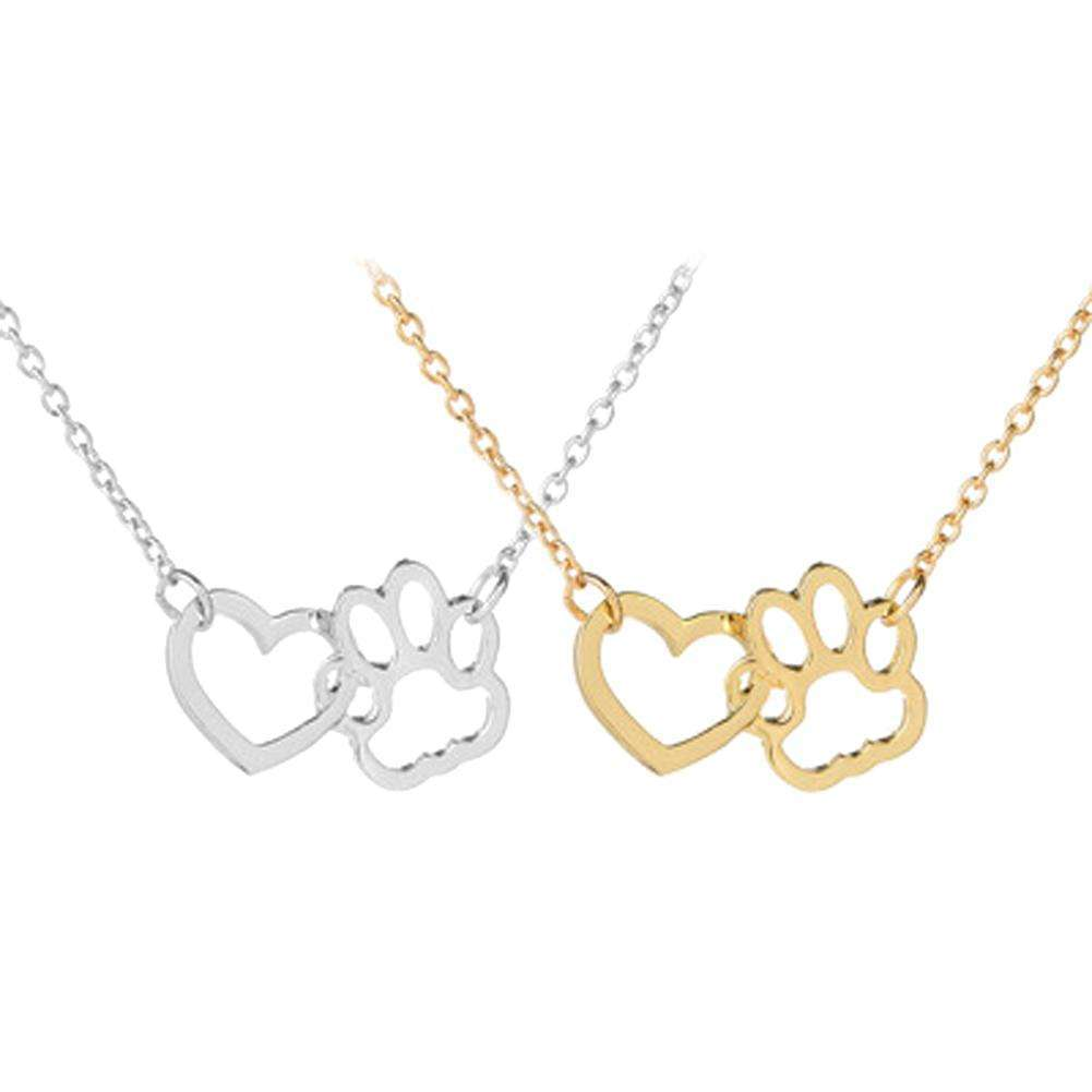 1pc Hollow Linked Heart Paw Dog Footprint Claws Pendant Necklaces Gold