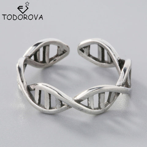 Todorova Infinity Duplex DNA Unique 925 Sterling Silver Ring Science