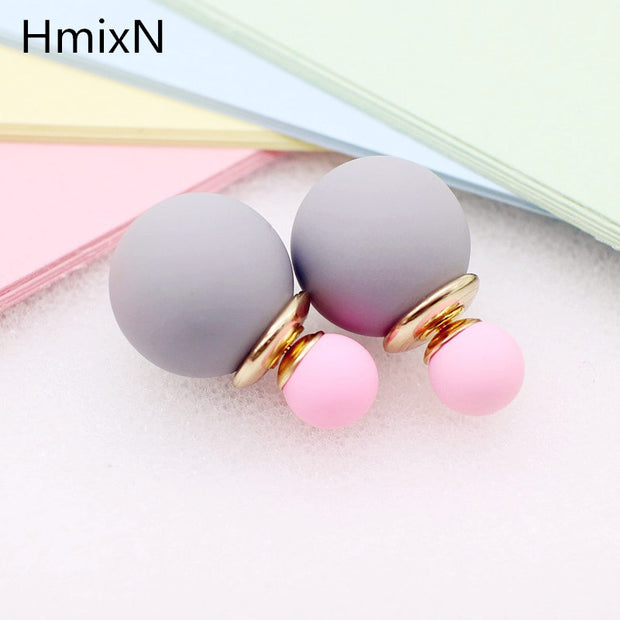 korea simulated Pearl ball Stud Earring Bead Double Side Earring Scrub