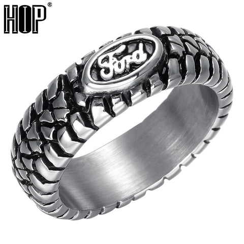 HIP Punk Ford Car Tire Tread Style Grooved Ring Vintage Casting Titanium Stainless Steel Rings for Men Jewelry