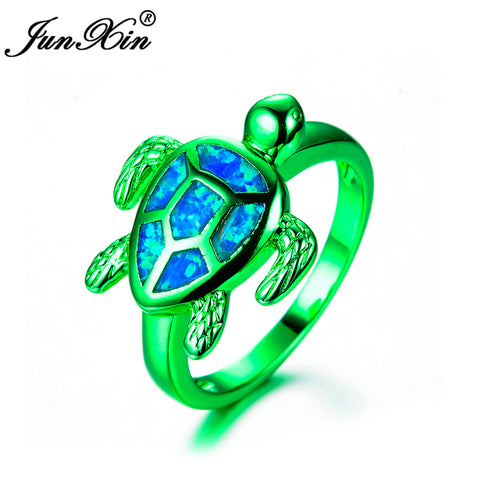 JUNXIN Female Blue Fire Opal Ring Fashion Green Gold Filled Jewelry High Quality Vintage Wedding Rings For Women Turtle Ring