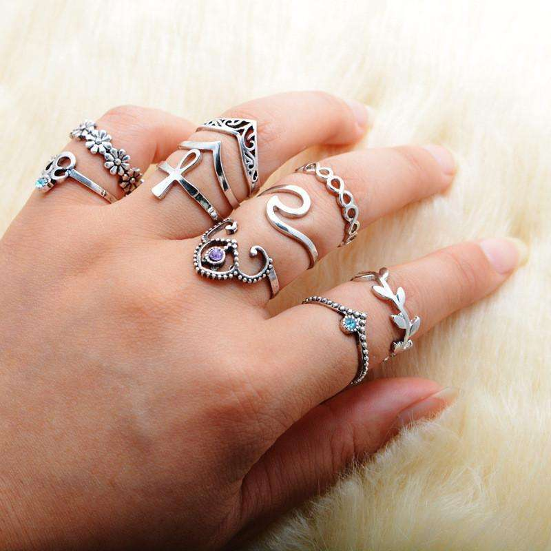 10pcs/Set Boho Vintage Punk Silver Color Cross Crown Crystal