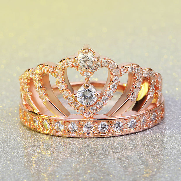 2017 New Luxury Female Crown ring AAAAA Zircon Cz 925 rose gold