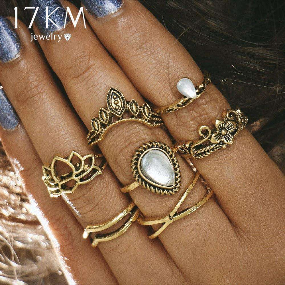 17KM Hollow Lotus Ring Sets for Women Anillos Punk Vintage Retro