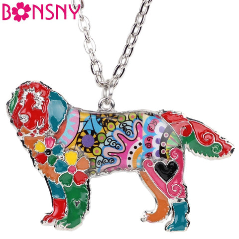 Bonsny Statement DOG Collection Alloy Newfoundland Dog Choker Necklace Chain Collar Pendant Enamel Jewelry For Women 2017 News